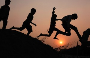 School kids-leaping-and-playing A